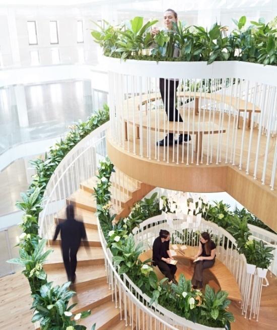 Лестница с растениями — украшение интерьера