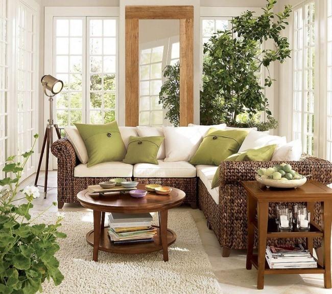 Плетеная мебель для гостиной — вечное ощущение отпуска
