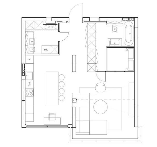 Практичный минимализм в проекте квартиры RIVERS от Эмиля Дервиша