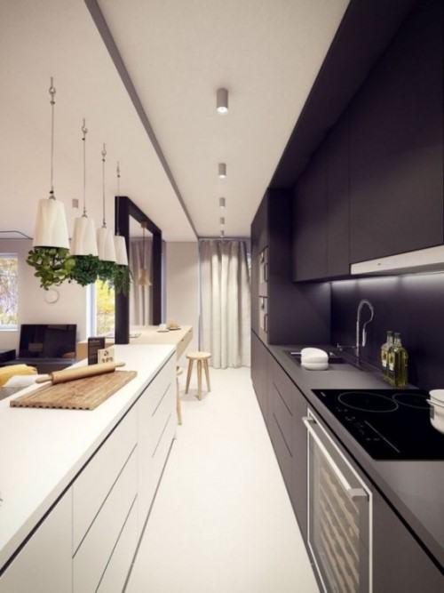 Как создать интерьер длинной узкой кухни. 20 идей дизайна