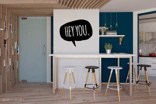 Hey You! Яркая квартира студия от Quattro Studio