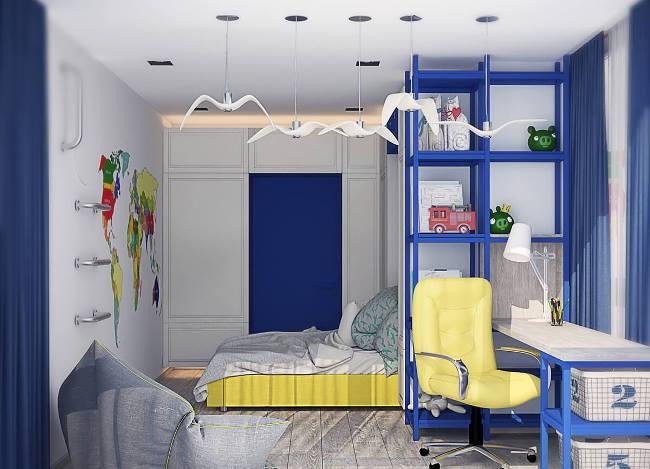 Детская комната для мальчика в глубоком синем