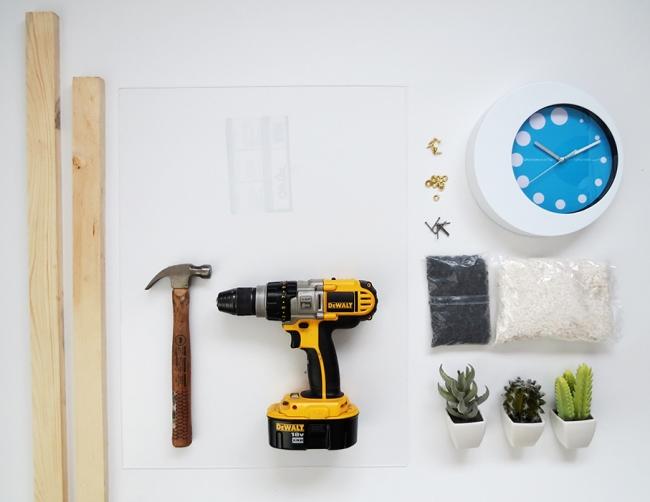 2в1 DIY: часы + террариум для суккулентов