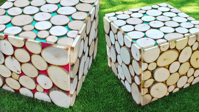 Ikea Hack: декор столика Лакк деревянными слайсами