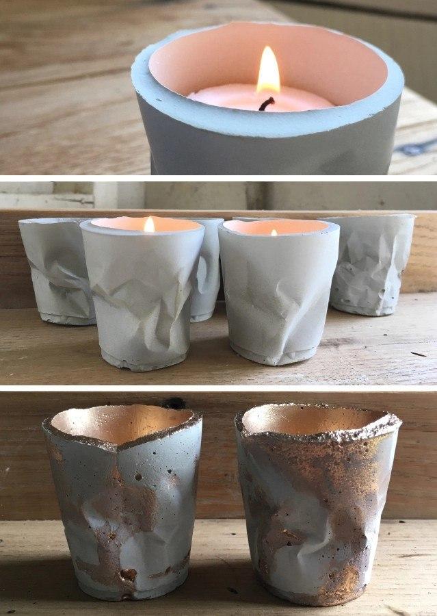 Смятые цементные стаканчики: стильный подсвечник