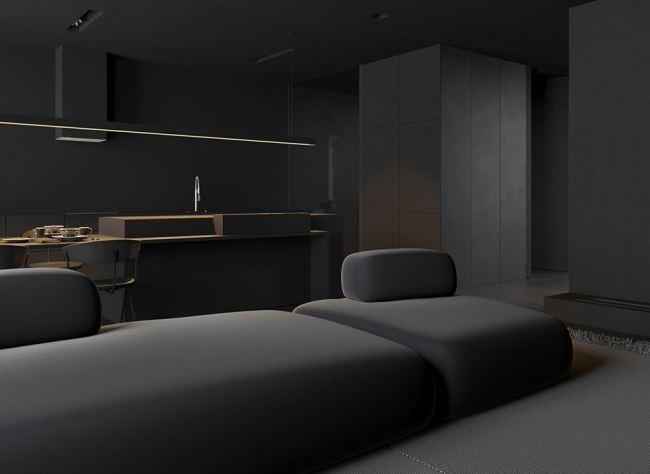 Intérieur absolument noir par Igor Sirotov Architecte