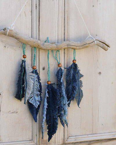 Настенный декор «Джинсовые перья»