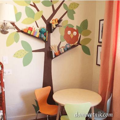 Полки в виде дерева для детской комнаты