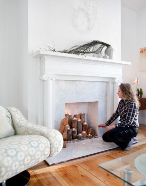 камин со свечами, камин свечи, декор своими руками для дома, дизайн интерьера гостиной,